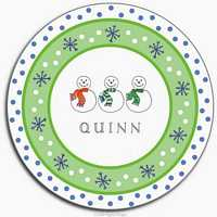 Snowmen Melamine Plate from Kelly Hughes Designs