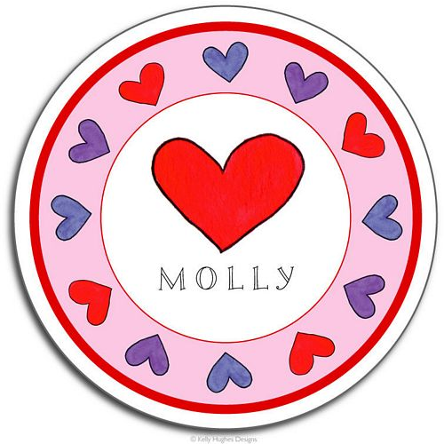 Happy Hearts Melamine Plate from Kelly Hughes Designs