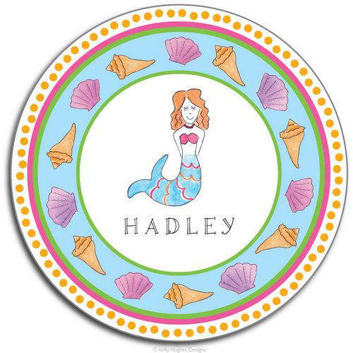 Little Mermaid Melamine Plate from Kelly Hughes Designs