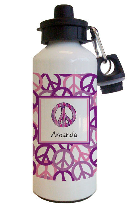 Peace Purple Water Bottle from Kelly Hughes Designs